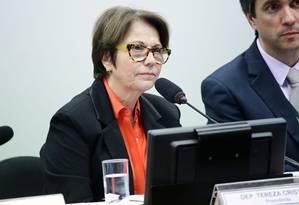 A deputada federal Tereza Cristina durante sessão na Câmara Foto: Michel Jesus/Câmara dos Deputados/25-06-2018