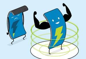 Carregamento sem fios está disponível para iphones e Android Foto: CHRIS PHILPOT / NYT