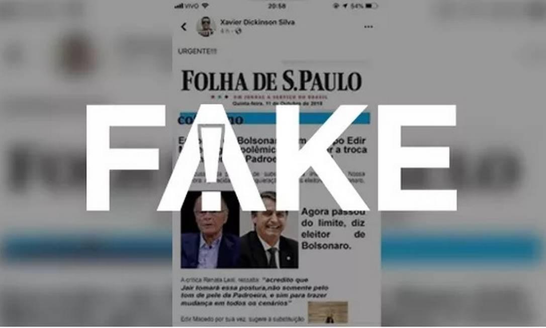 Print como se fosse da 'Folha de S.Paulo' sobre mudança da imagem de Nossa Senhora Aparecida é falso Foto: Reprodução