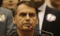 O candidato do PSL à Presidência, Jair Bolsonaro, durante entrevista Foto: Marcelo Theobald/Agência O Globo/11-10-2018