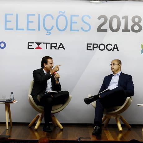 Debate entre os candidatos ao governo do Rio Wilson Witzel (PSC) e Eduardo Paes (DEM) promovido pelos jornais O GLOBO e Extra e pela revista Época Foto: Pablo Jacob / Agência O Globo