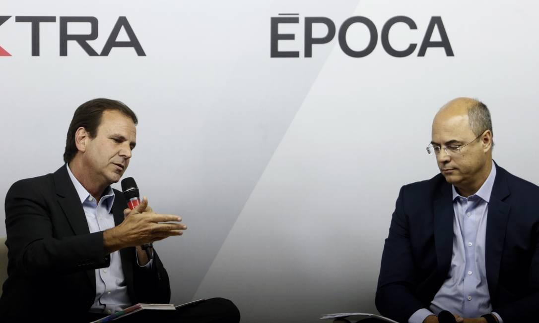 Debate entre os candidatos Wilson Witzel (PSC) e Eduardo Paes (DEM) no Jornal O Globo Foto: Antonio Scorza / Agência O Globo