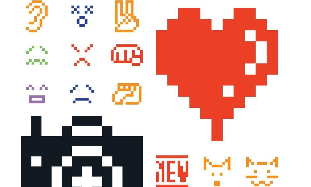 Parte dos 176 emojis originais adquiridos pelo acervo do MoMA Foto: Reprodução