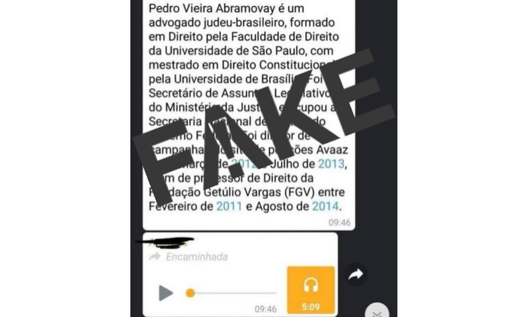 Mensagem atribuída a advogado é falsa Foto: Reprodução