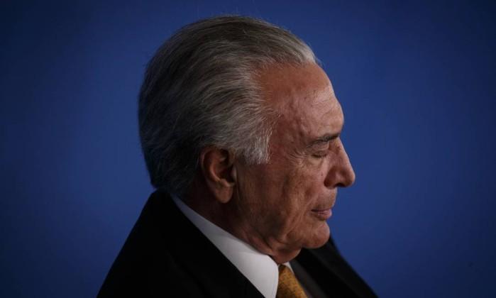 O presidente Michel Temer participa de cerimônia no Palácio do Planalto Foto: Daniel Marenco / Agência O Globo
