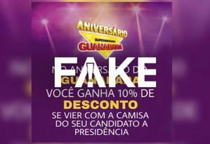 Cartaz que diz que rede dará desconto para quem usar camiseta de candidato à Presidência circula na internet Foto: Reprodução