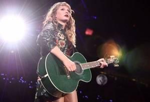 Taylor Swift em show de sua mais recente turnê,