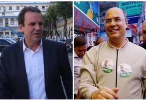 Os candidatos ao governo do Rio Wilson Witzel (PSC) e Eduardo Paes (DEM) Foto: Arquivo O GLOBO