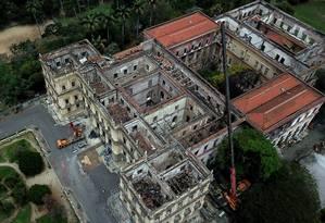 Palácio da Quinta da Boa Vista, onde funcionava o museu, passa por obras Foto: Custódio Coimbra / Agência O Globo