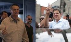 Jair Bolsonaro (PSL) e Fernando Haddad (PT) disputam segundo turno da eleição presidencial Foto: Mauro Pimentel/AFP//Marcos Alves/Agência O Globo