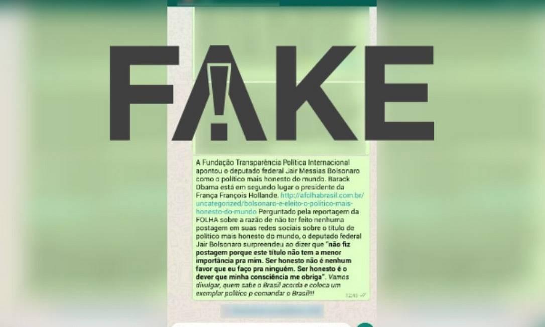 Mensagem que diz que Bolsonaro foi eleito político mais honesto do mundo é falsa Foto: Reprodução