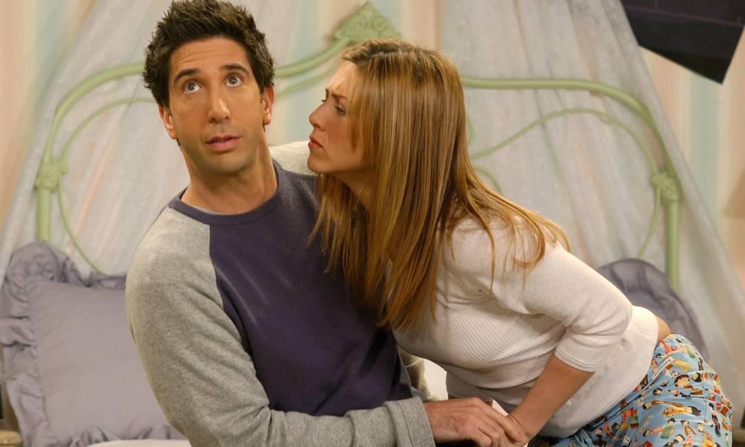 Ross e Rachel: eles transaram 298 vezes, terminaram e depois tiveram uma filha em uma 'recaída' Foto: Louise Wiker / Reprodução