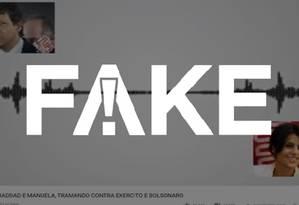 É #FAKE que áudio revela Haddad e Manuela tramando contra Exército e Bolsonaro Foto: Reprodução