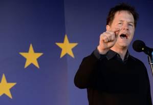 Foto tirada em 2017 mostra Nick Clegg em comício Foto: CHRIS J RATCLIFFE / AFP