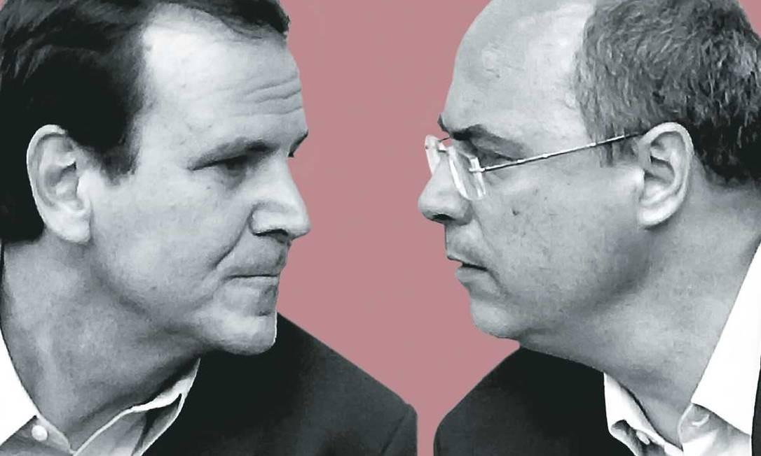 Wilson Witzel e Eduardo da Costa Paes Foto: Montagem sobre foto de Gabriel de Paiva / Agência O Globo