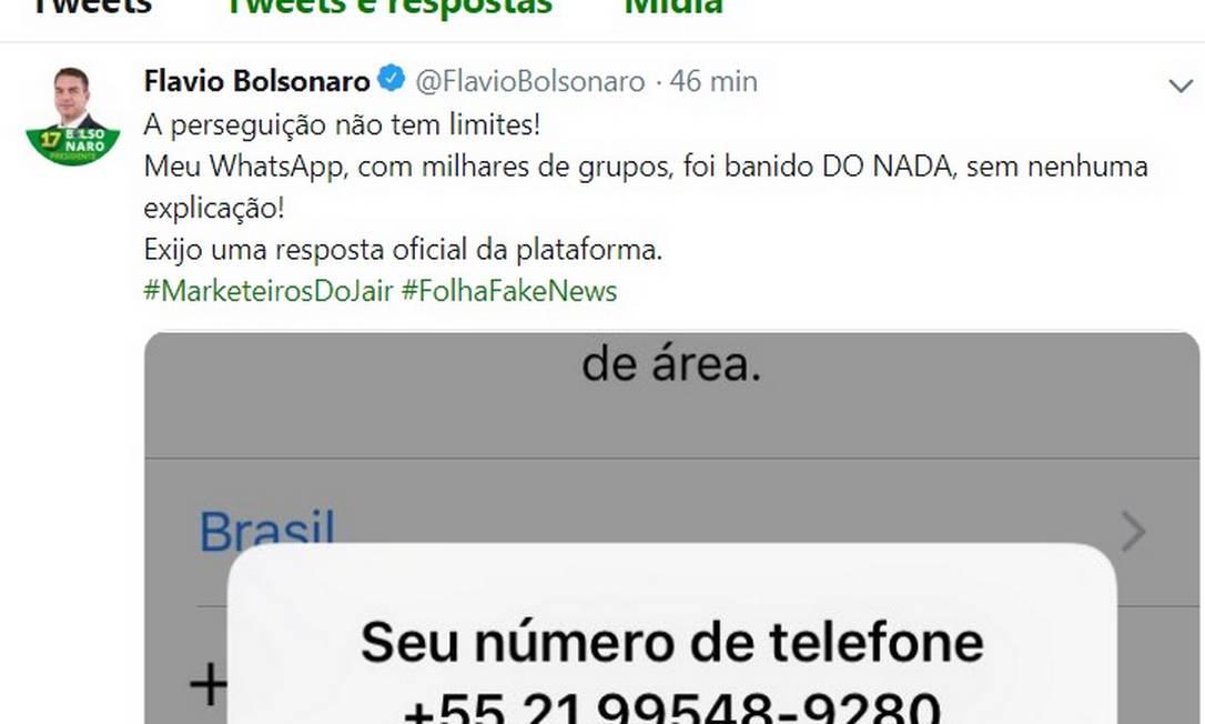 Pelo Twitter, Flávio Bolsonaro reclamou por ter sido banido do WhatsApp Foto: REPRODUÇÃO