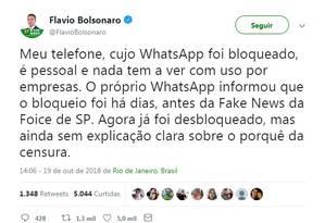 Flávio Bolsonaro fala do desbloqueio do seu celular Foto: Reprodução