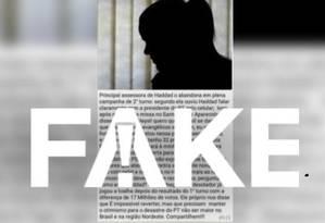 Mensagem falsa diz que assessora de Haddad abandonou campanha após ouvir que candidato queria escapar de Moro Foto: Reprodução