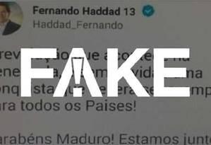 É fake tuíte atribuído ao candidatoFernando Haddad Foto: Reprodução
