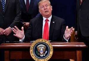 O presidente americano, Donald Trump, deve cancelar tratado que Reagan assinou nos tempos da Guerra Fria Foto: NICHOLAS KAMM / AFP