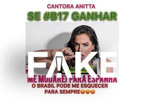 É #FAKE que Anitta disse que deixaria o Brasil se Bolsonaro ganhar a eleição Foto: Reprodução