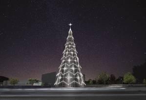A árvore do BarraShopping terá 65 metros e brilhará também de dia Foto: Divulgação
