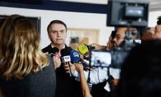 O candidato do PSL à Presidência, Jair Bolsonaro, deu entrevista neste sábado Foto: Fabiano Rocha / Agência O Globo