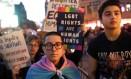 Protesto contra as políticas da administração Trump em relação ao gênero em Nova York no ano passado Foto: Yana Paskova/New York Times