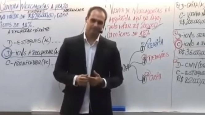 Em vídeo, filho de Bolsonaro diz que 'basta um soldado e um cabo para fechar o STF' Foto: Reprodução