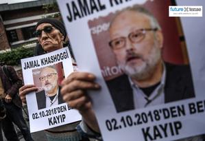 Manifestantes protestam o sumiço do jornalista Jamal Khashoggi, em Istambul, Turquia Foto: Ozan Kose / AFP