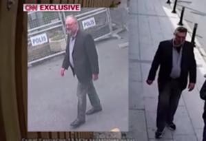 Montagem contrasta o jornalista saudita Jamal Khashoggi e seu 'dublê', que vestiu as suas roupas, exceto pelo calçado Foto: Reprodução/CNN