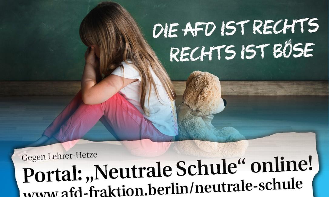 Portal lançado pelo partido de extrema direita alemão AfD pede que alunos e seus pais denunciem professores que manifestarem sua visão política em sala de aula Foto: Facebook/Reprodução
