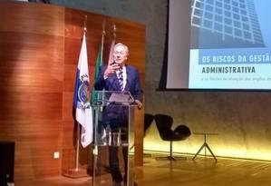 O ministro do Supremo Tribunal Federal (STF) Ricardo Lewandowski, durante palestra na Fundação Getúlio Vargas (FGV) Foto: Mariana Martinez