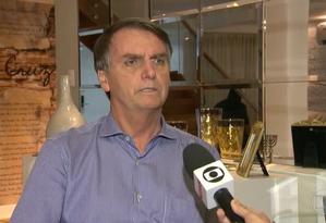 Jair Bolsonaro (PSL) em entrevista ao Jornal Nacional Foto: Reprodução/TV Globo