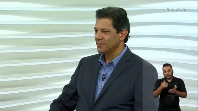 Fernando Haddad durante sua participação no programa Roda Viva Foto: Reprodução/TV Cultura