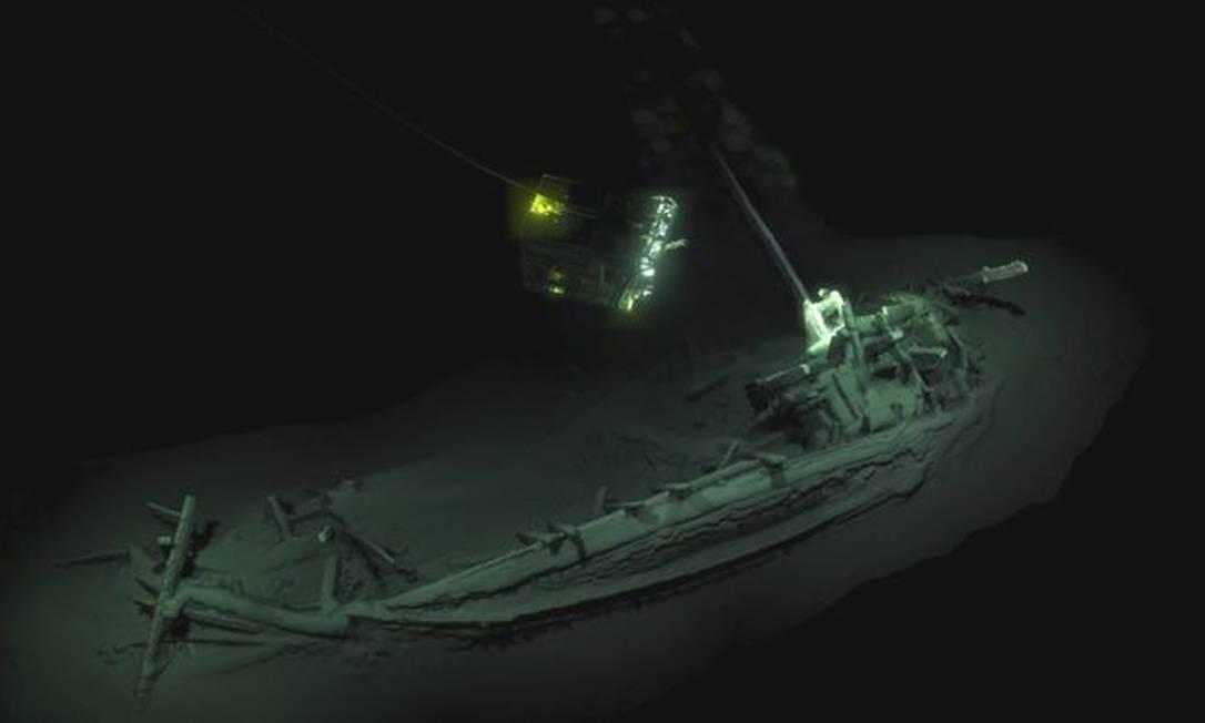 Navio foi encontrado na costa búlgara do Mar Negro e foi datado com carbono 14 Foto: Divulgação/Black Sea MAP