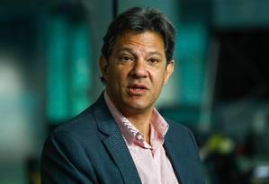 O presidenciável Fernando Haddad (PT) é sabatinado por Extra, 'Globo, 'Época' e 'Valor Econômico' Foto: CUSTODIO COIMBRA / Agência O Globo