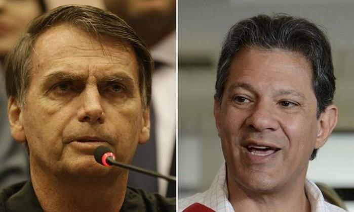 Jair Bolsonaro e Fernando Haddad Foto: Agência O Globo