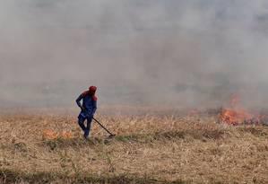 Fazendeiro queima arroz em Zirakpur, no norte de Punjab, na Índia Foto: Adnan Abidi / REUTERS/10-10-2018