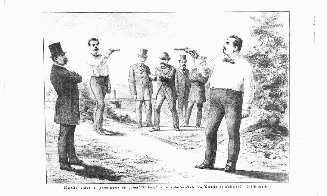 Charge de 1886 mostra duelo entre o proprietário de 'O paiz' e o redator-chefe da 'Gazeta de notícias' Foto: Angelo Agostini / Acervo da Fundação Biblioteca Nacional