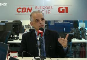 Márcio França (PSB) é entrevistado pelo G1 e pela CBN Foto: Reprodução