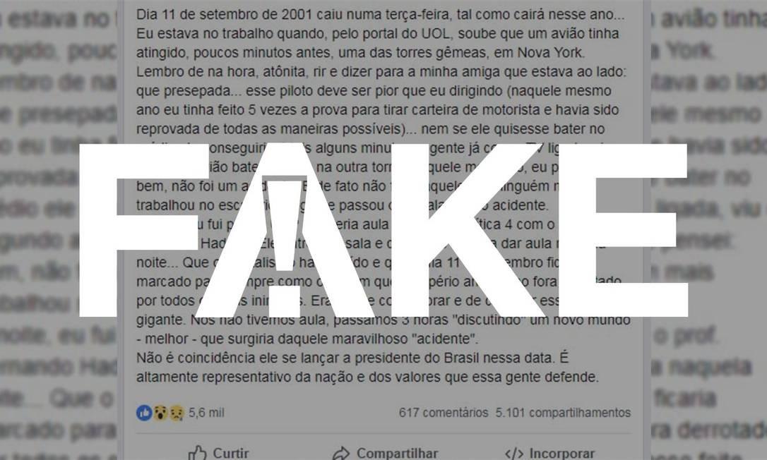 Relato em Facebook afirma que Haddad cancelou aula para comemorar a queda das Torres Gêmeas Foto: Reprodução