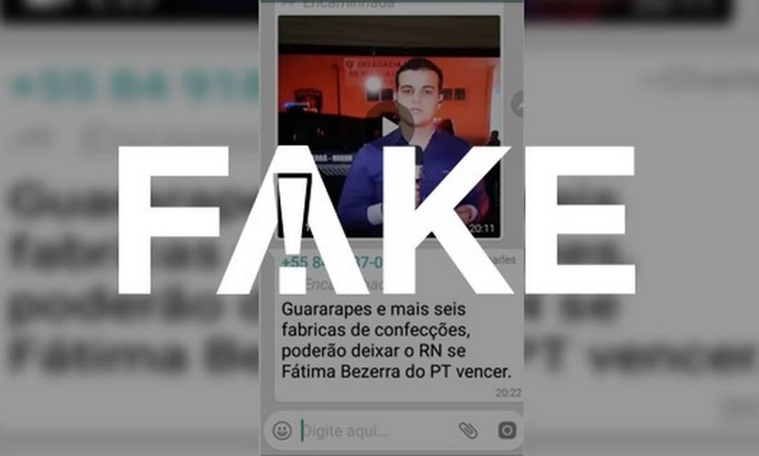 Mensagem que afirma que o Grupo Guararapes vai deixar o Rio Grande do Norte caso Fátima Bezerra ganhe é falsa Foto: Reprodução