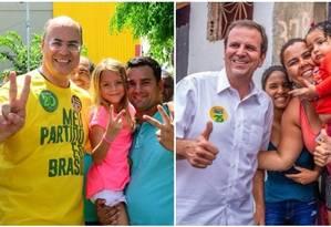 Os candidatos ao governo do Rio Wilson Witzel (PSC) e Eduardo Paes (DEM) Foto: Divulgação