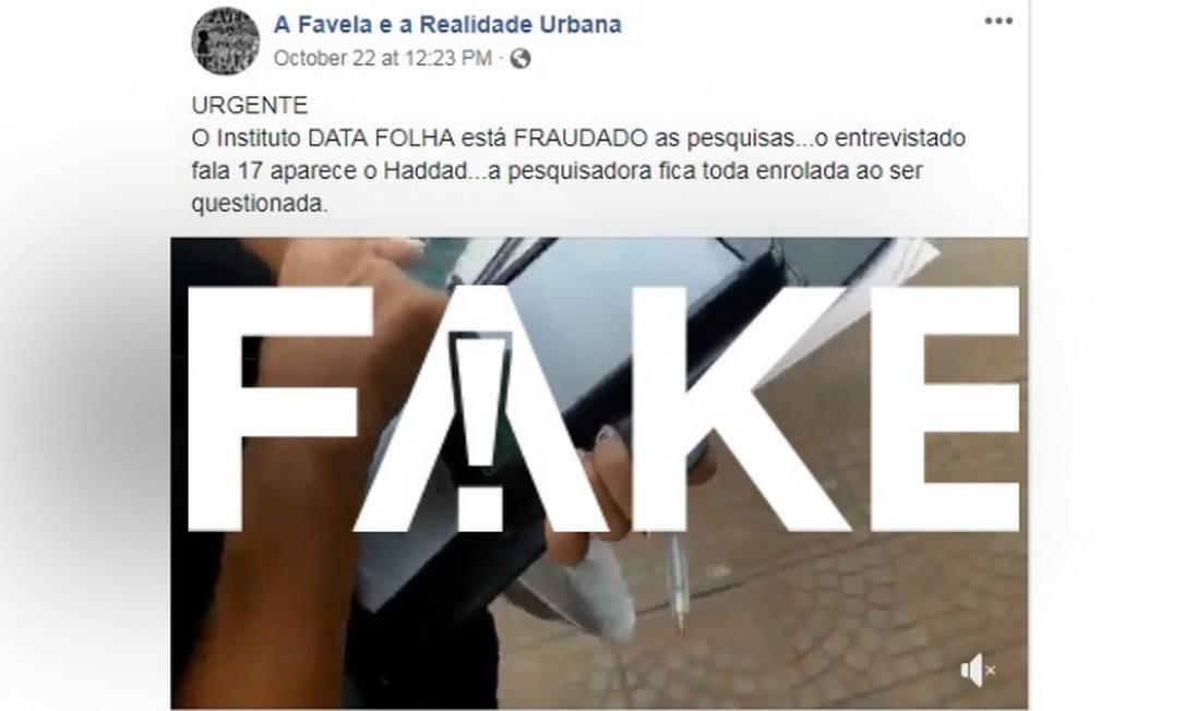 Vídeo que denuncia fraude em pesquisa do Datafolha é #FAKE Foto: Reprodução