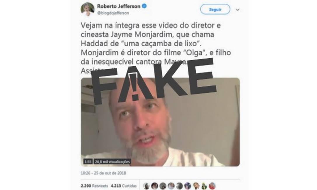Vídeo atribuído ao diretor Jayme Monjardim traz mensagem falsa Foto: Reprodução