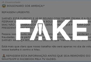 Mensagem falsa tem circulado no WhatsApp Foto: Reprodução