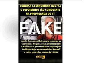 É #FAKE que Amélia Teles matou militares Foto: Reprodução