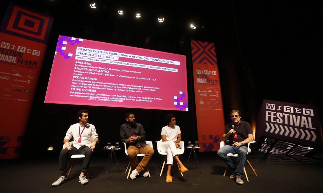 Reflexão. Um dos debates da edição de 2017 do Wired Festival Brasil , no Rio Foto: Pablo Jacob / Agência O Globo/2-12-2017