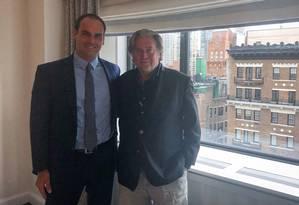 Encontro de Eduardo Bolsonaro com Steve Bannon Foto: Reprodução